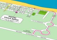 Mappa per raggiungere l'Hotel Villa Rossi dall'Autostrada